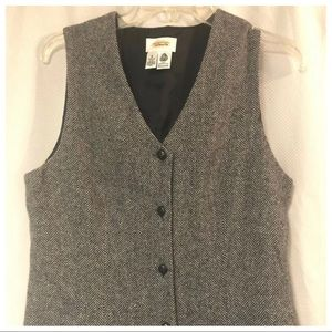 Talbots wool long dress gray button down lined